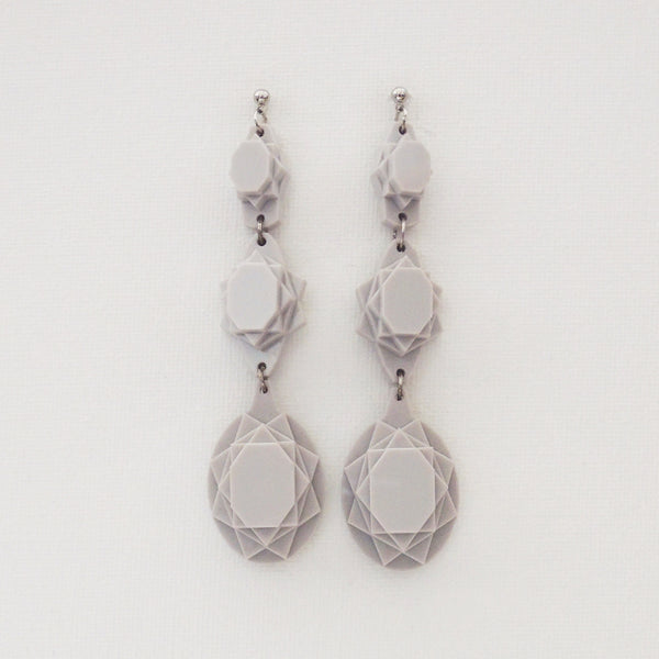 VECTORY OVAL GREY EARRINGS
