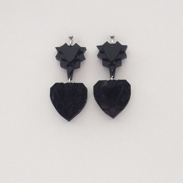 VECTORY HEART MID BLACK EARRINGS