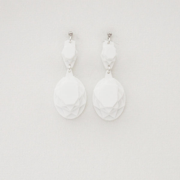 VECTORY OVAL SNOW MID EARRINGS