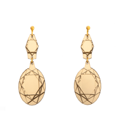 VECTORY OVAL MID GOLD MIRROR EARRINGS