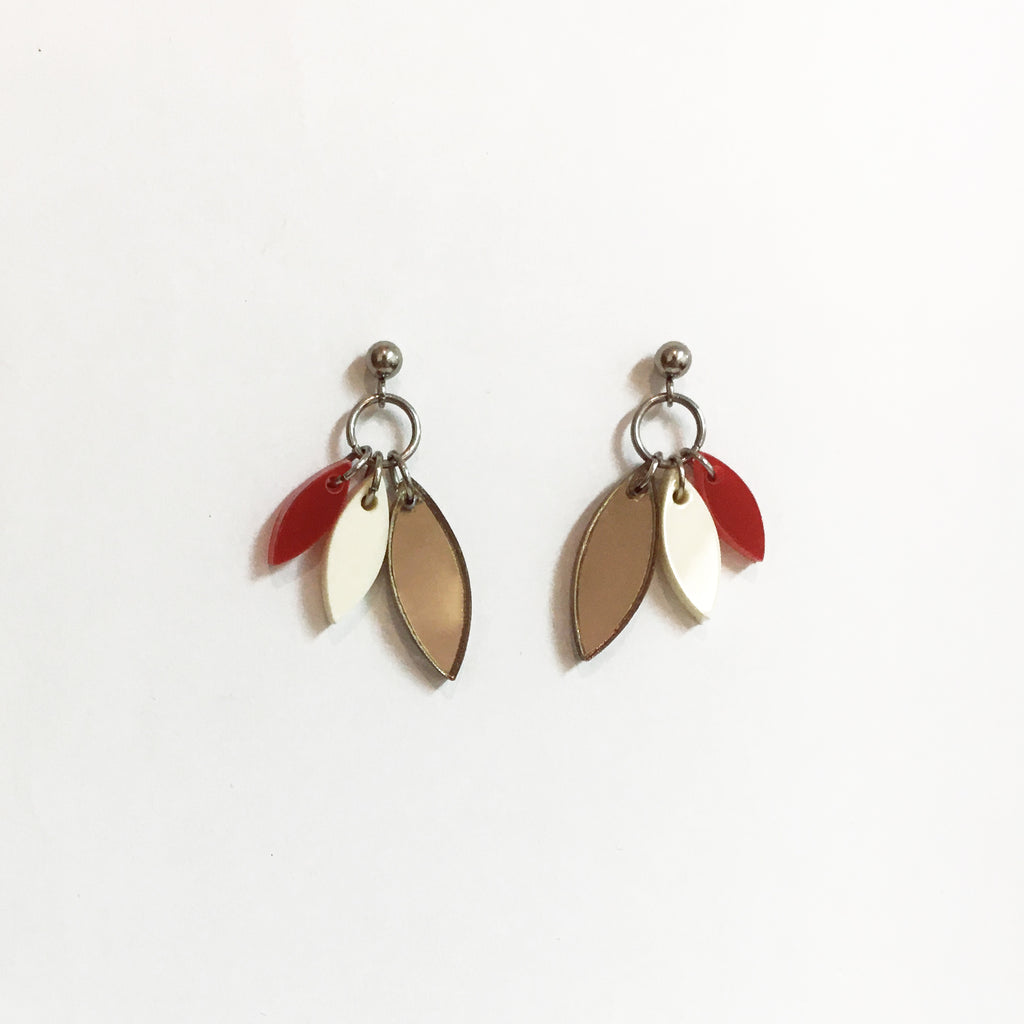 PETALS BRONZE & RUBY EARRINGS