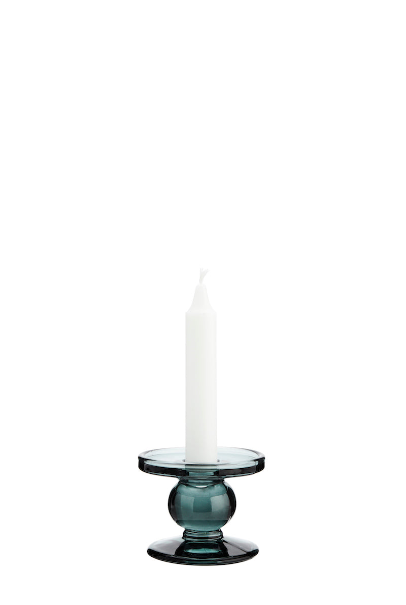 Green Glass Candle Holder Small