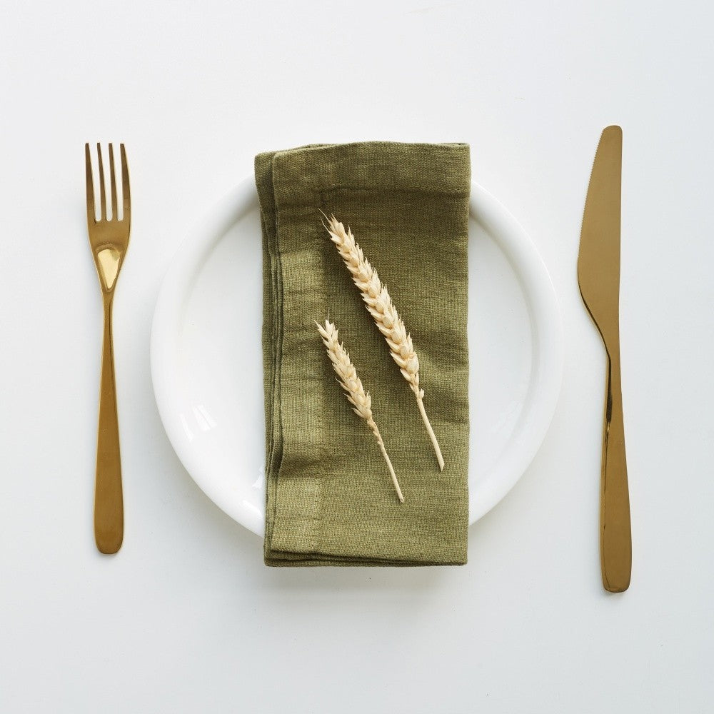 Martini Olive Washed Linen Napkins