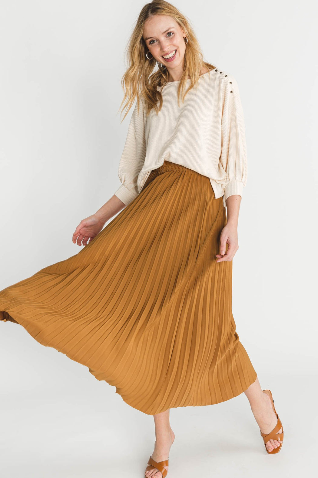 Alexis Midi Skirt Bronze - Selected Femme - pleated midi skirt brown caramel