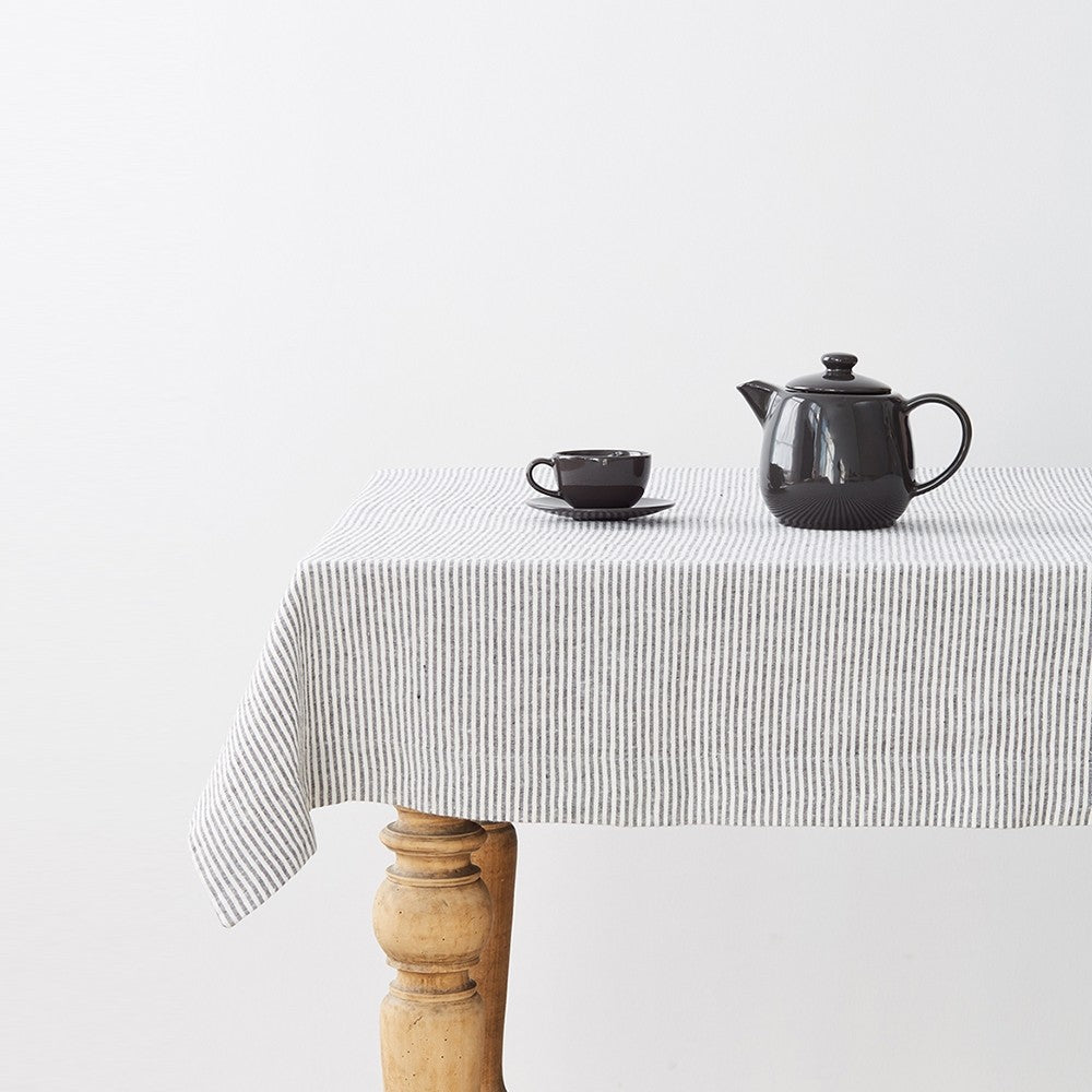 Thin Black Stripes Washed Linen Tablecloth