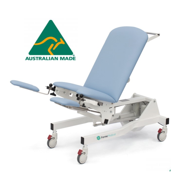 Fully Electric Gynaecology Exam Chair  (Electric Hi-Lo & Electric Back Rest) Australian Made, Lifetime Frame Warranty