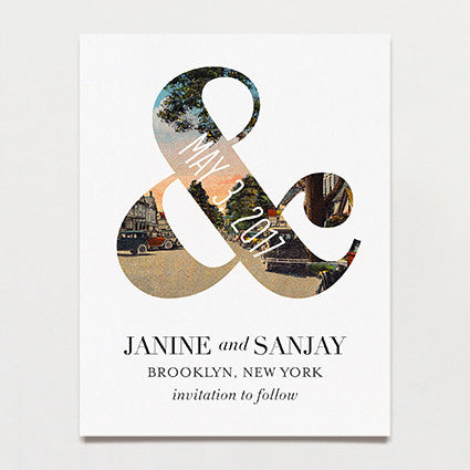 Ampersand Save The Date Postcard