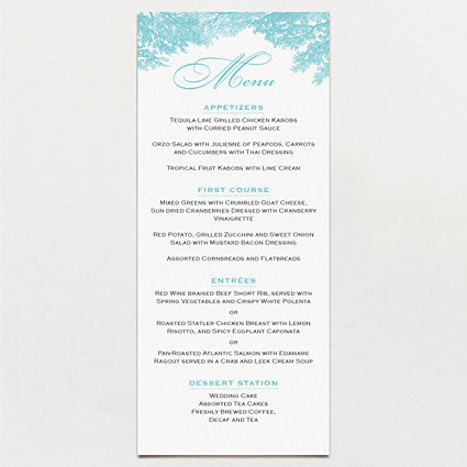 Banquet In The Woods Menu