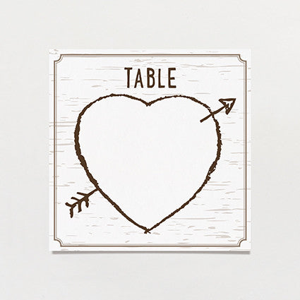 Birch Bark Love Table Number