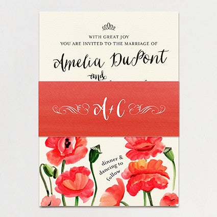 Blowsy Poppy Wedding Invitation