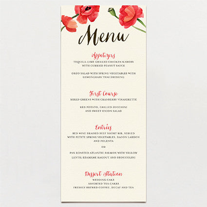 Blowsy Poppy Menu