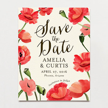 Blowsy Poppy Save The Date Postcard