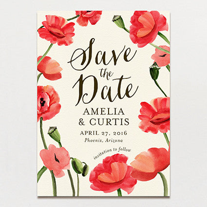Blowsy Poppy Save The Date