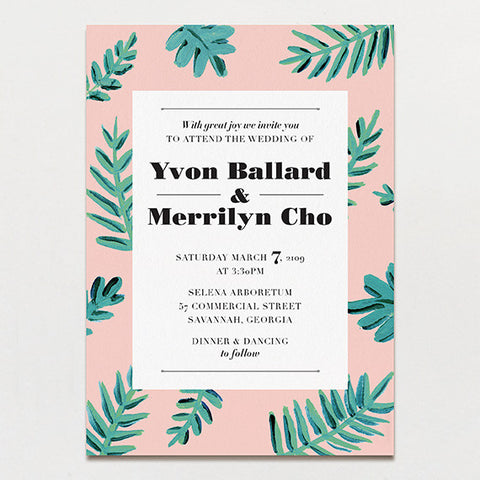 Bold Leaves Wedding Invitation