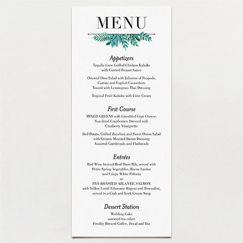 Bold Leaves Menu