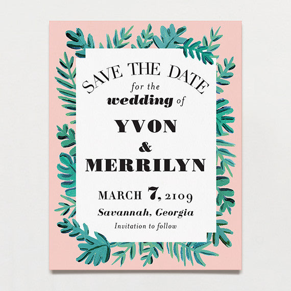 Bold Leaves Save The Date Postcard