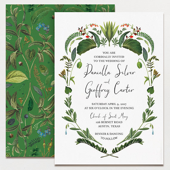 botanical baroque wedding invitation | printable press, Wedding invitations