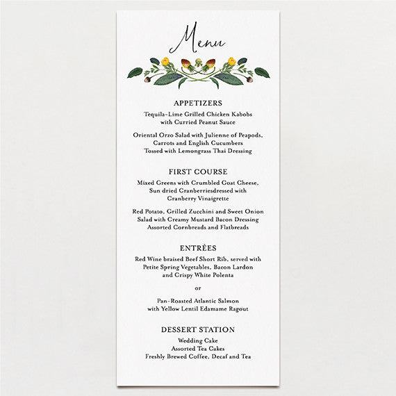 Botanical Baroque Menu