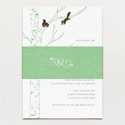 Carved Initials Wedding Invitation