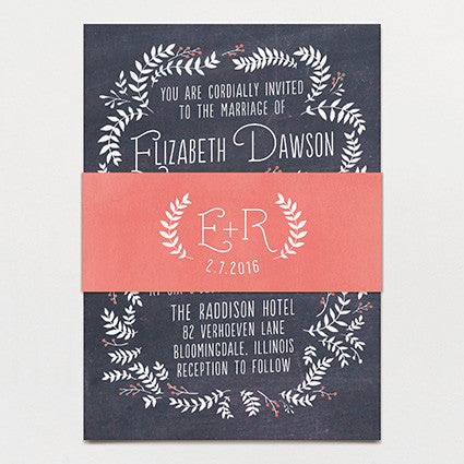 Chalkboard Leaves Wedding Invitation