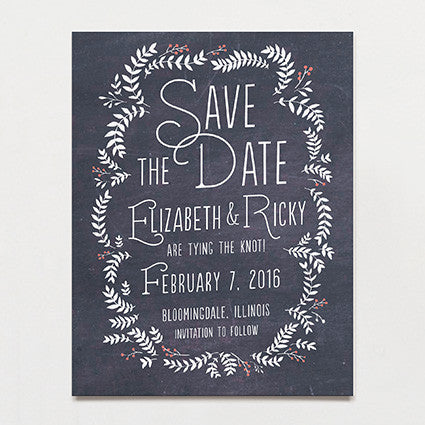 Chalkboard Leaves Save The Date Postcard