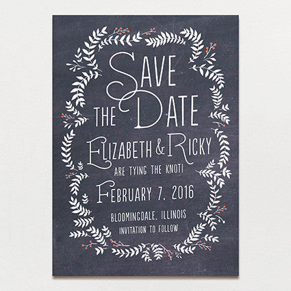 Chalkboard Leaves Save The Date