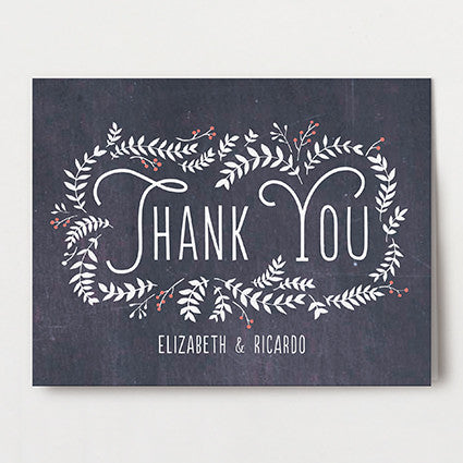 Chalkboard Leaves Thank You Folded
