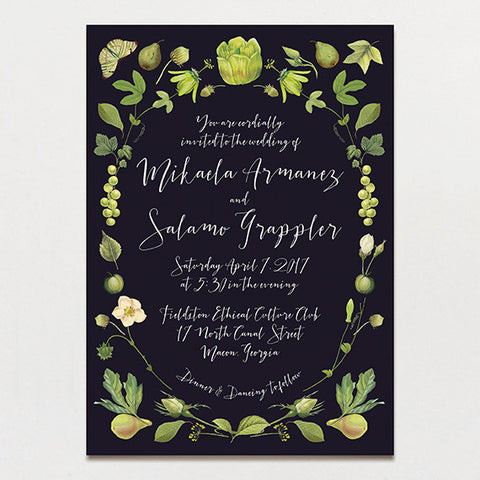 Chartreuse Drama Wedding Invitation
