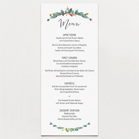 Delicately Framed Menu