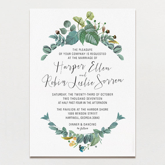 Delicately Framed Wedding Invitation