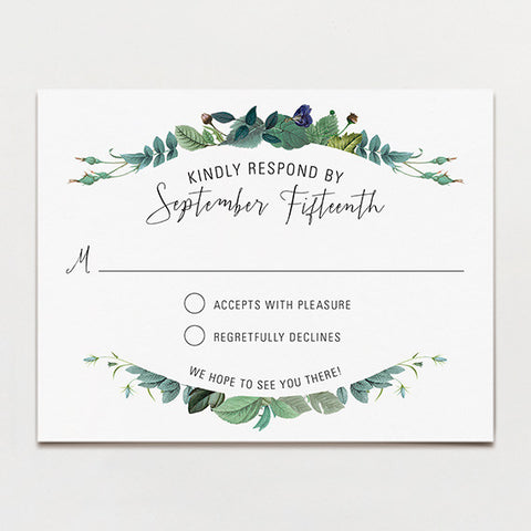 Delicately Framed Response Postcard