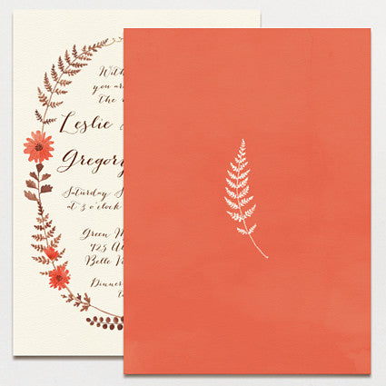 Ferns and Flowers Wedding Invitation