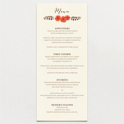 Ferns and Flowers Menu