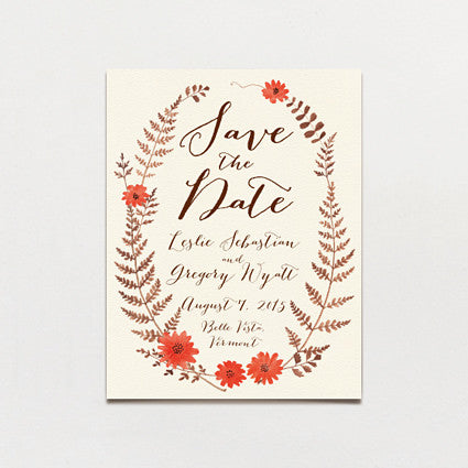 Ferns and Flowers Save The Date Postcard