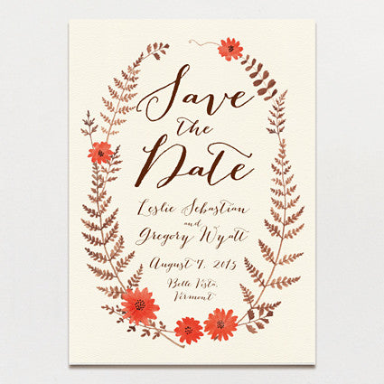 Ferns and Flowers Save The Date