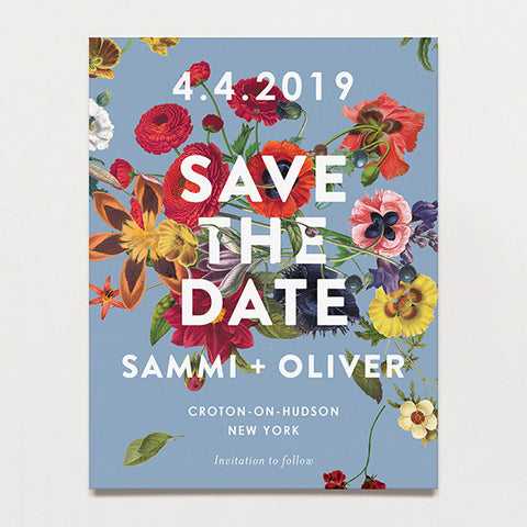 Floral Burst Save The Date Postcard