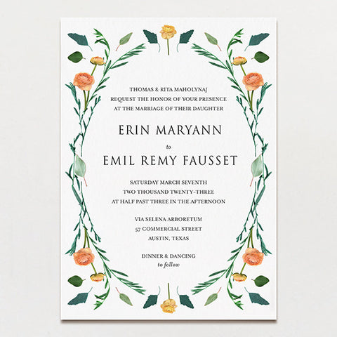 Floral Symmetry Wedding Invitation