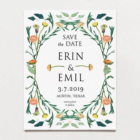 Floral Symmetry Save The Date Postcard