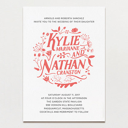 Folk Flowers Wedding Invitation
