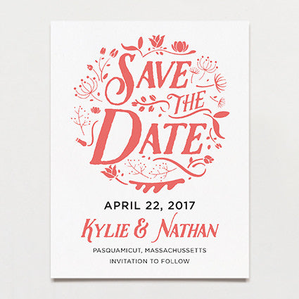Folk Flowers Save The Date Postcard
