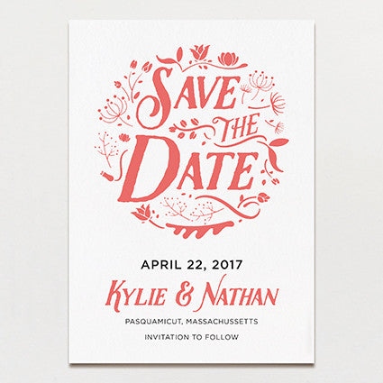 Folk Flowers Save The Date