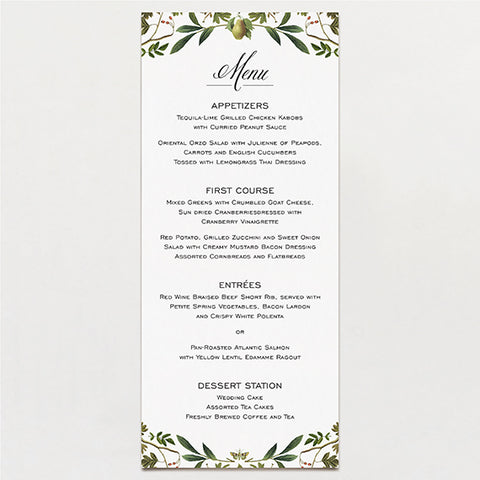 Forest Formal Menu