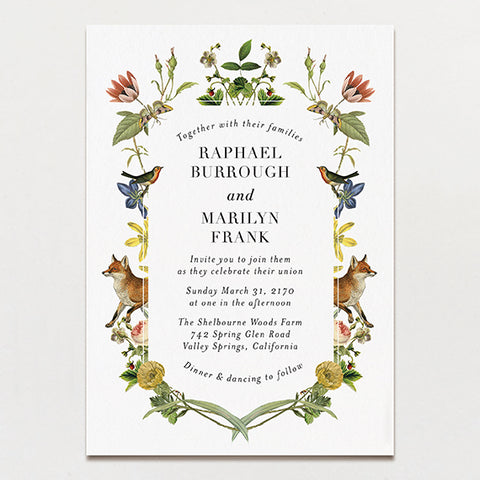 Fox Flowers Wedding Invitation