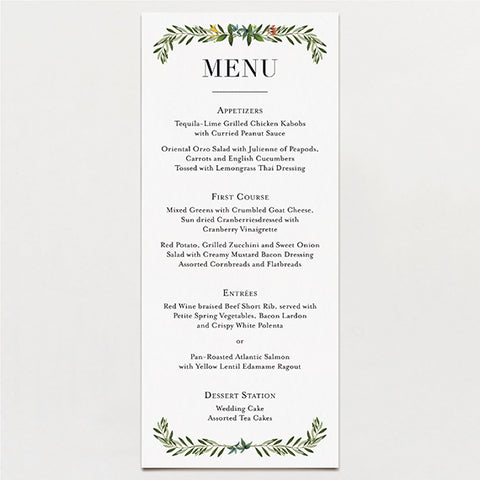 Fox Flowers Menu