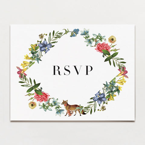 Fox Flowers Rsvp Postcard