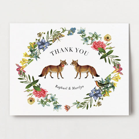 Fox Flowers Thank You Folded