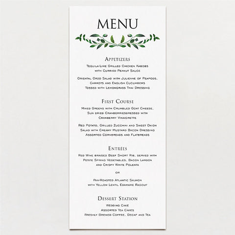 Gorgeous Greenery Menu