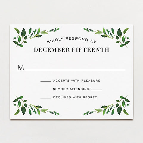 Gorgeous Greenery Response Card