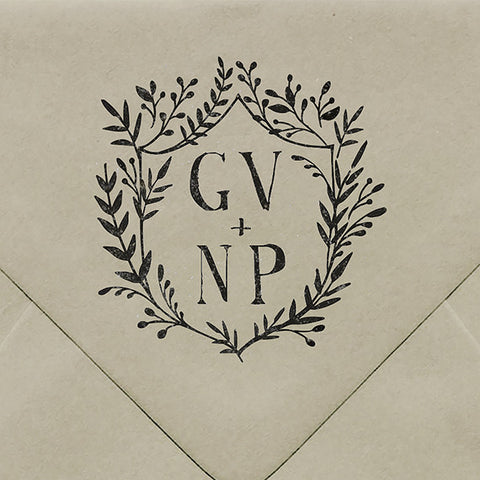 Laurel Crest Rubber Stamp - $55