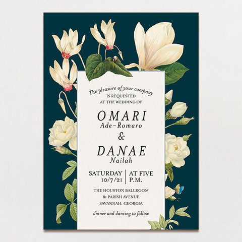 Magnolia Bouquet Wedding Invitation